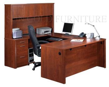 Chaise de bureau de luxe moderne en forme de u bureau avec Étagère