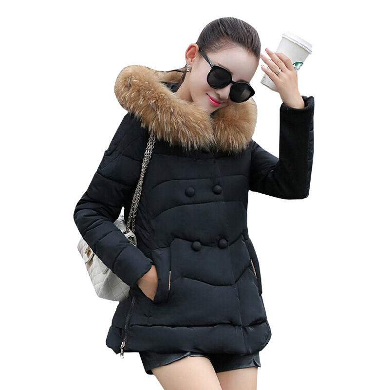 Winter Jacket Coat Female Fur Collar Hooded Parka Women 2015 New Fashion Double Breasted Jackets for Woman Clothes Manteau Femme