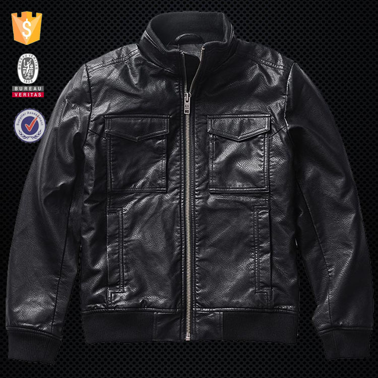 China factory OEM zipper front pockets fashion man leather jacket