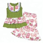Olive Baby Girls Summer Fall Rose Flower Clothing Sets Bulk Wholesale