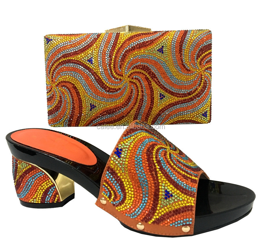 Shoes Simple Crystal For Party Fashion New Bag Matching Colorful Set qpEE4B