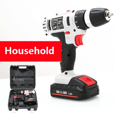 Free Shipping 2 Battery Incuded Li-ion Battery Machine Electrical Tools Set Power Tools 18V Cordless <strong>Drill</strong> for Household