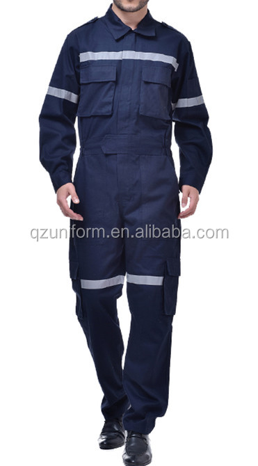 EN11612 Navy Blue High Reflective Safety Working Overalls Pyrovatex Flame Retardant Coverall Cotton