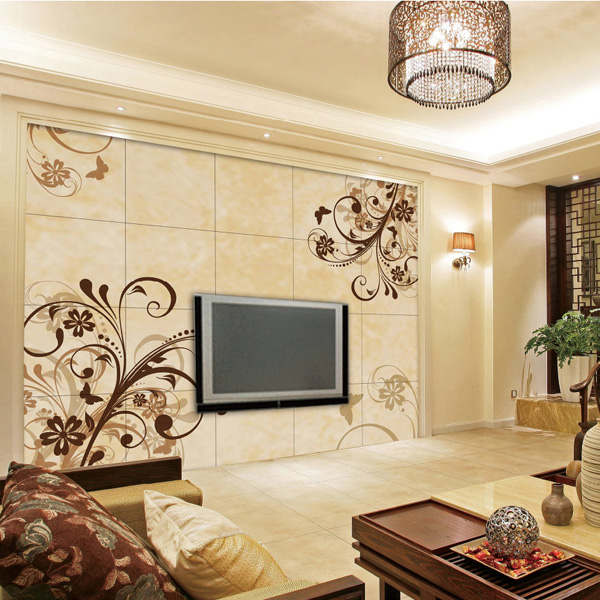 flower pattern porcelain tv background wall design