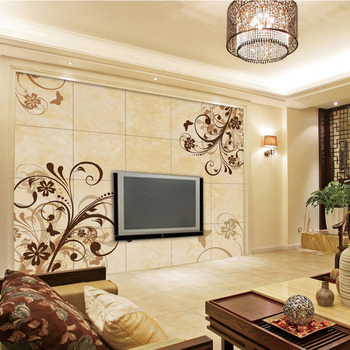 Flower Pattern Porcelain Tv Background Wall Design Buy Tv