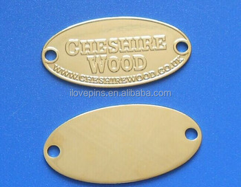 custom embossed logo oval metal plate name plate with two holes
