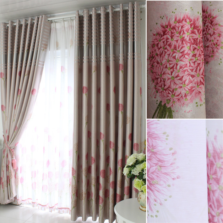 Household rustic screens double faced print full shade cloth curtain