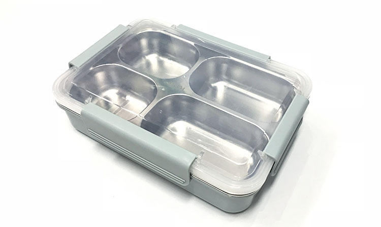Kantoor gebruik A6088-1 single layer 4 compartiment voedsel containers staal lunchbox