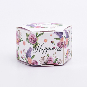 Custom high quality folding hexagon colorful flower printing cardboard paper box wedding candy gifts