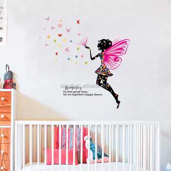 H001 Flower Fairy Butterfly Wall Stickers Beautiful Faery Quote Flowers  Girl Wall Decals For Kids Nursery