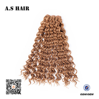 Favourable Deep Curly Hair African American Synthetic Fiber Noble Color In Yellow Curly Wave Hair Extension and Weaving