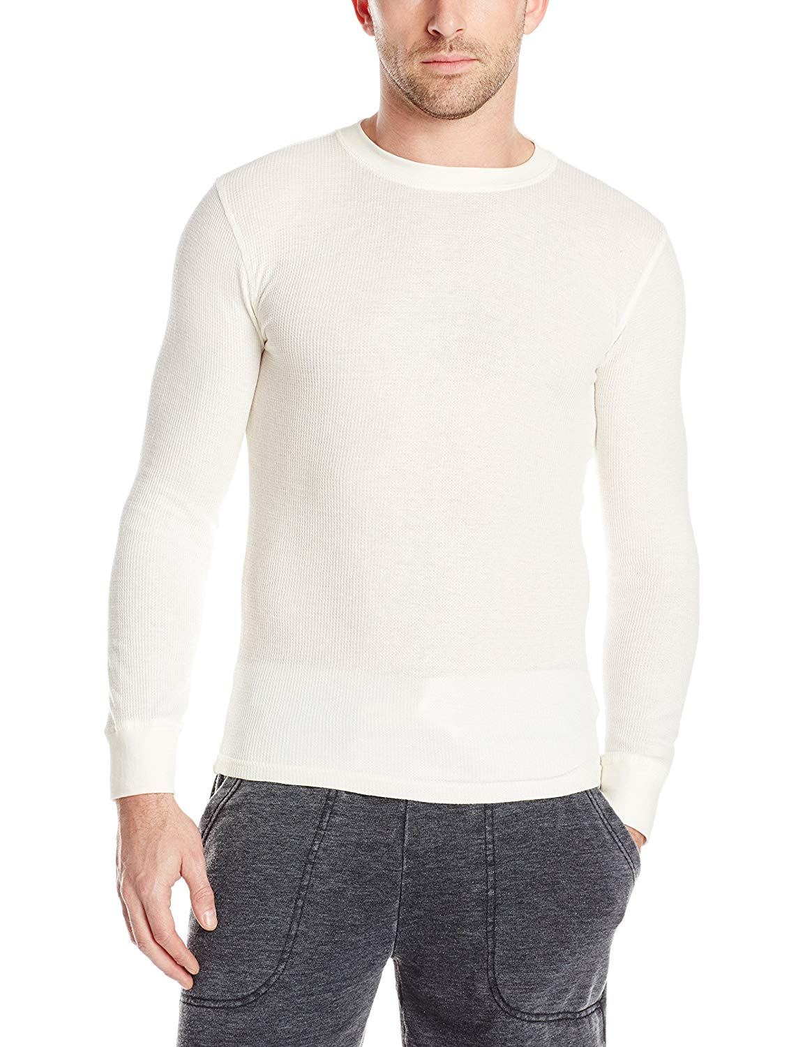 54d63bc5 Get Quotations · Bottoms Out Men's Long Sleeve Crew Neck Thermal Shirt  Waffle Knit