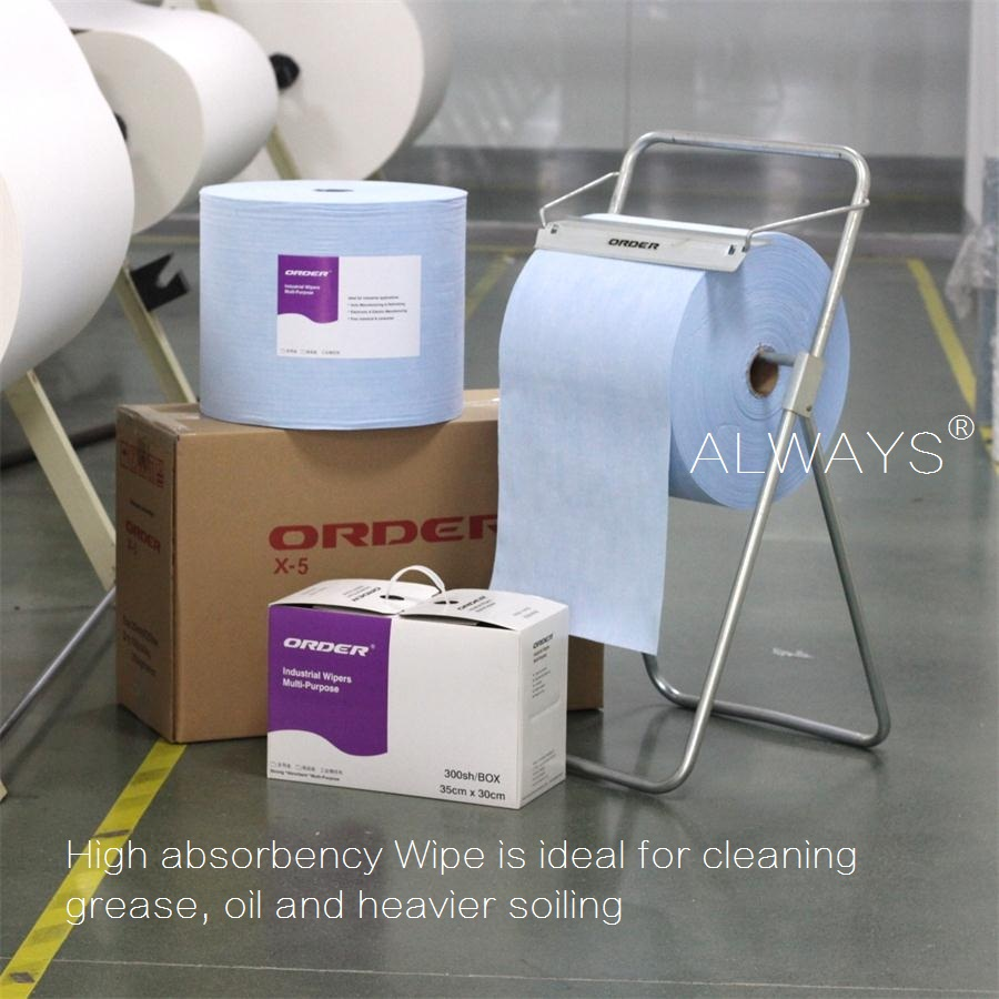 Blue Spunlaced Fibers of Woodpulp & Polypropylene Nonwoven Cleaning Wipes