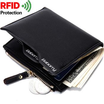 be8894b7f7bb4 Neue Marke RFID schutz designer leder herren geldbörse mit münzfach Mann  handtasche geldbeutel-kartenhalter für