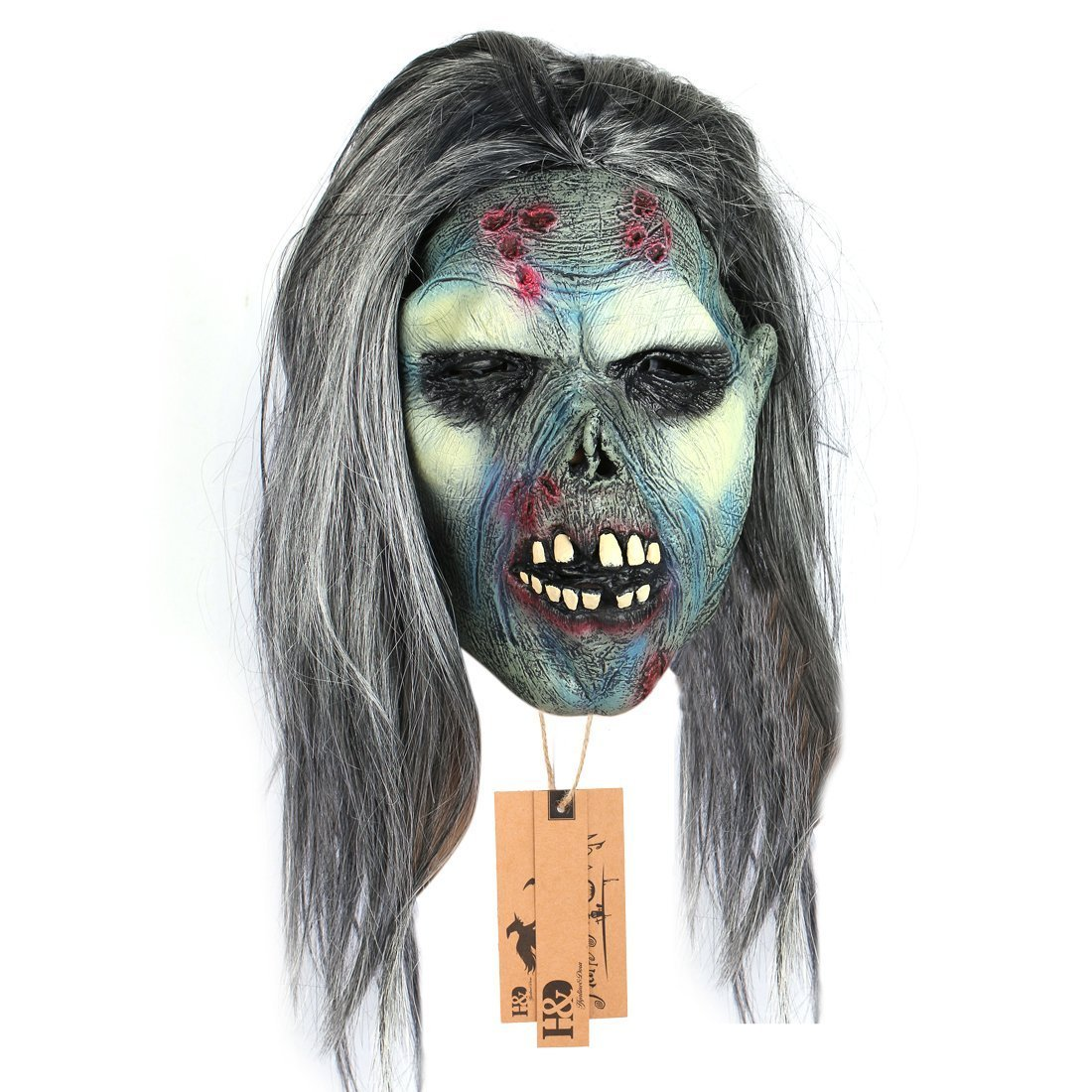 get quotations yufeng creepy scary zombie mask latex halloween mask scary mask with hair