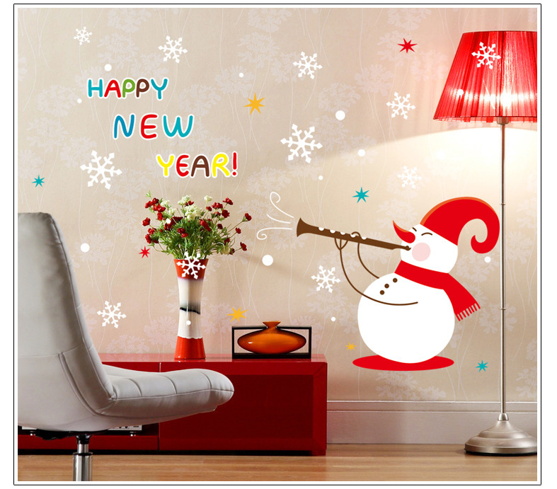 New Year Home Decoration: Happy New Year Christmas Snowman Snowflake Wall Stickers