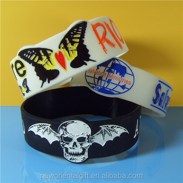 Custom Personized Watch Shape Debossed Color Filled Promotion Silicone Wristbands