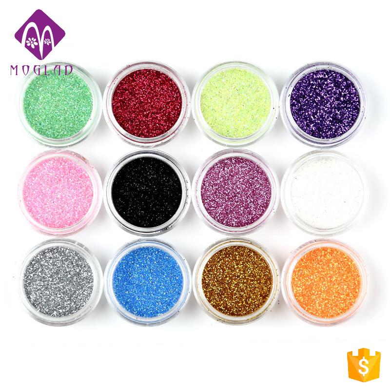 China Nail Art Supplier Wholesale 12colors Nail Art Glitter Powder ...