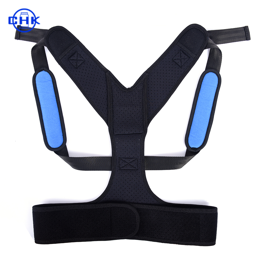 Hot selling Adjustable and Comfortable Lumbar Upper back brace posture corrector for back support, Black