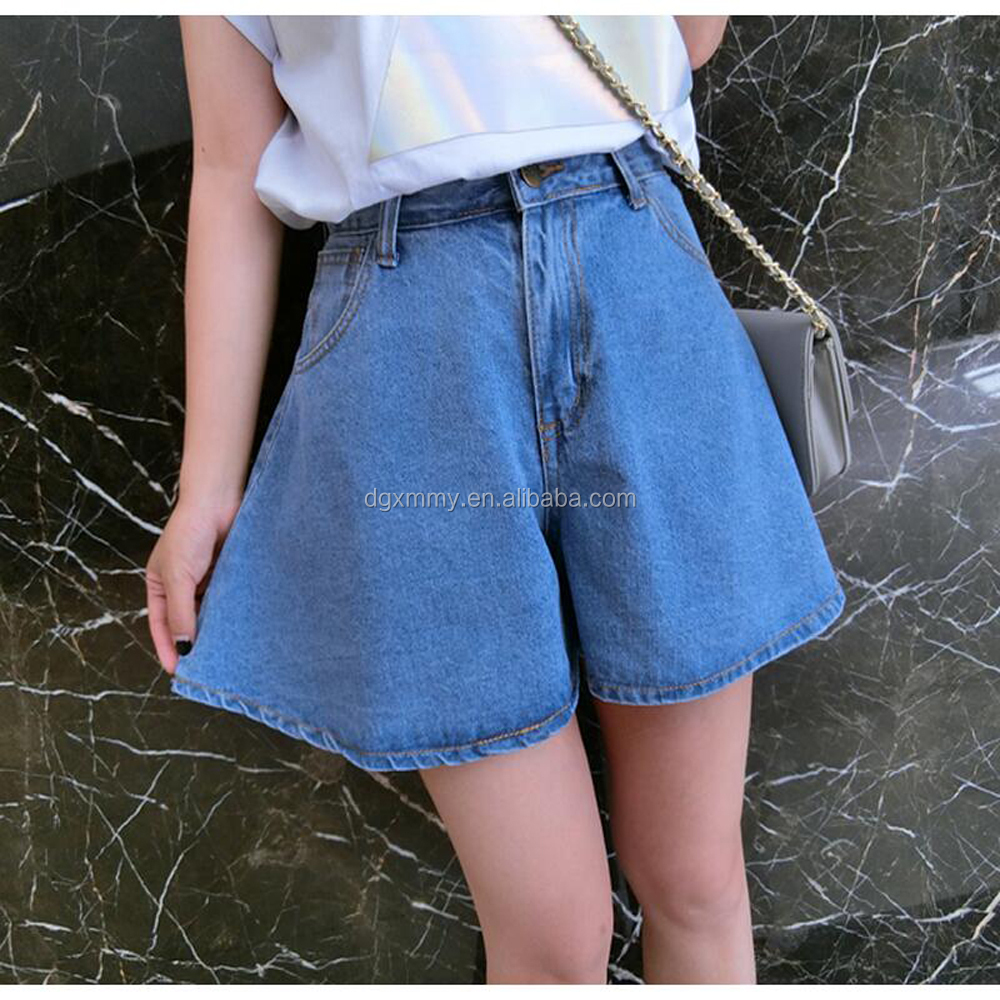 Shorts Women Spring/Summer 2017 New Fashion A-line Denim Shorts Skirts Female Casual Hot Skorts High Waist Loose Jeans Shorts