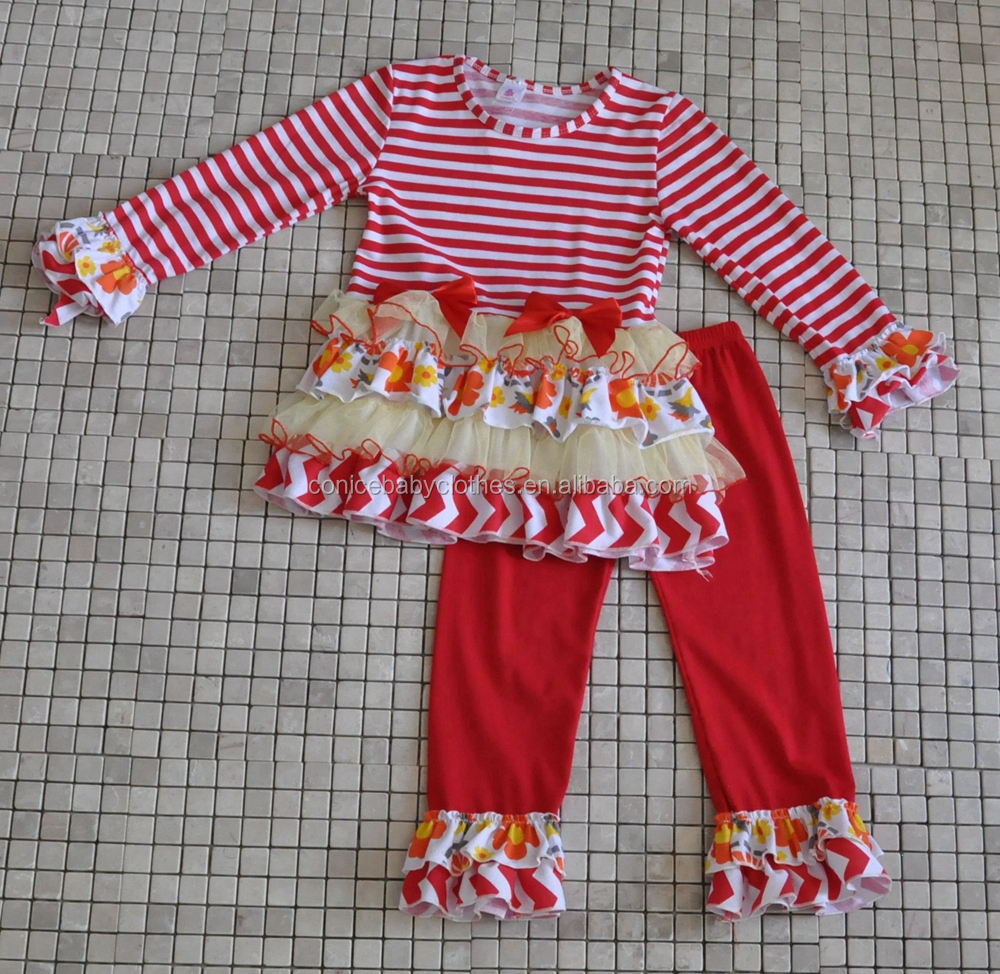 WHOLESALE CHEAP TODDLER FALL WINTER GIRLS RUFFLE CHRISTMAS CHEVRON CLOTHING SETS