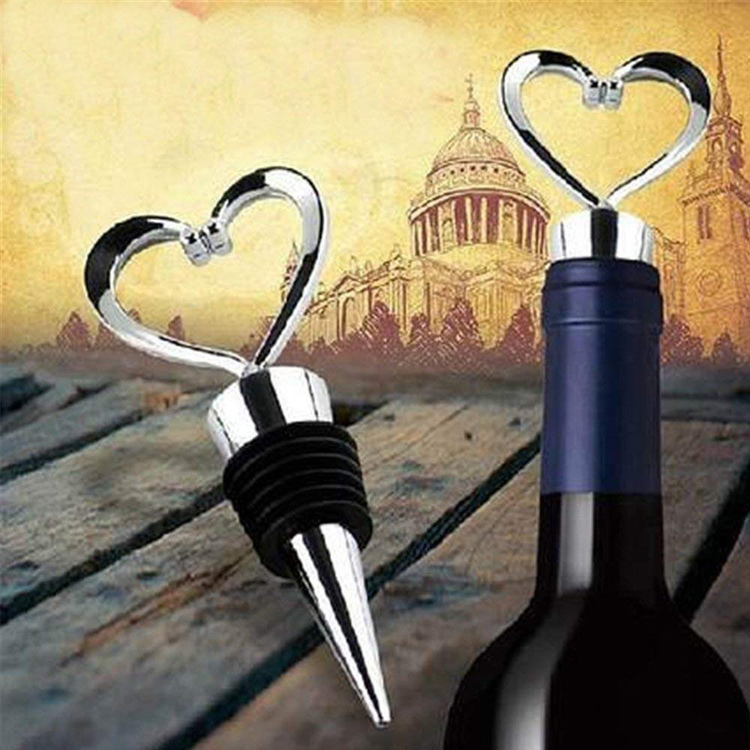 Wedding Gifts For Guests Souvenir Bulk Hot Sell Heart Shaped Wedding Favors Zinc Alloy Metal Wine Stopper