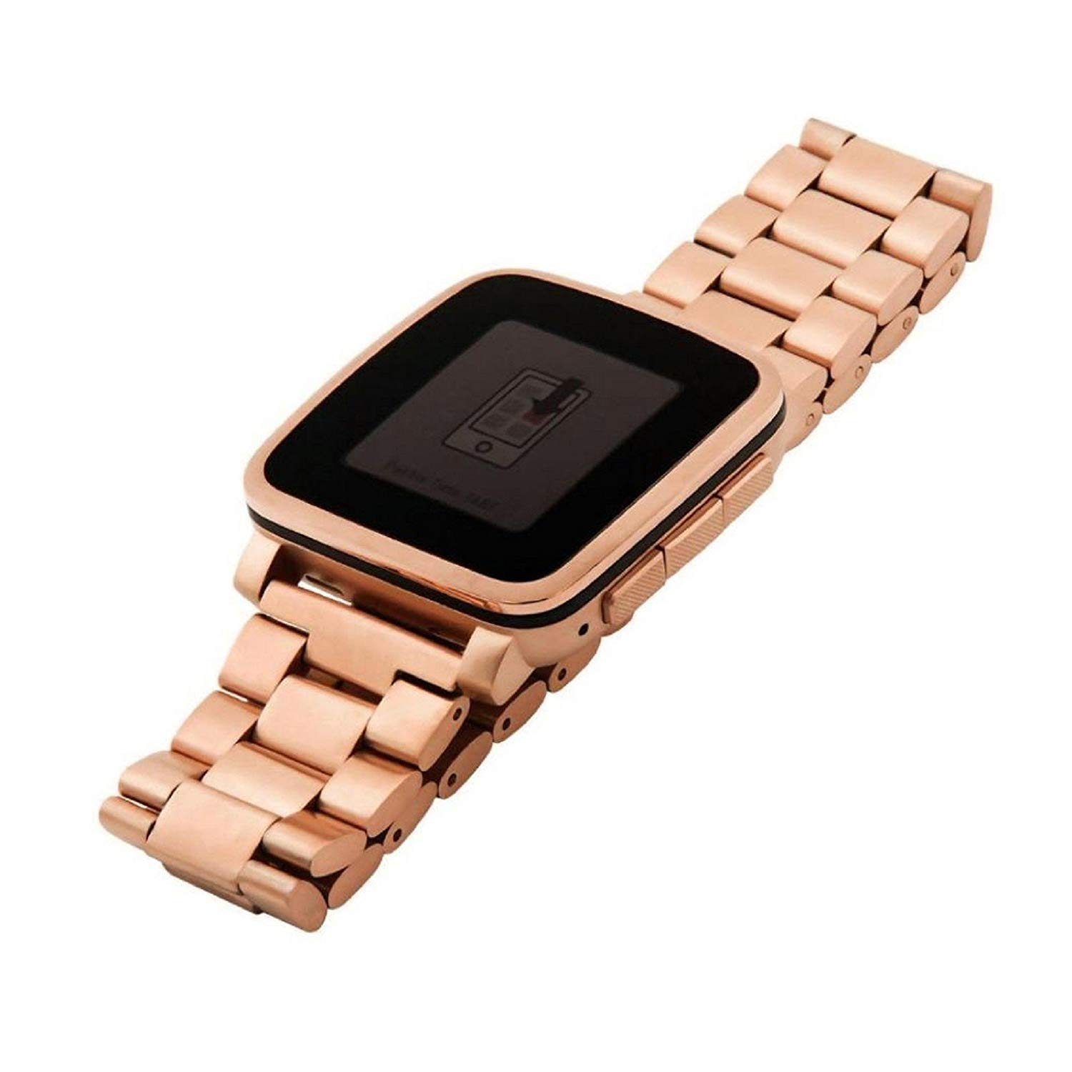 Owill Genuine Stainless Steel Bracelet Watch Band Strap For Pebble Time Smart Watch, Length: About 175MM (Rose Gold)