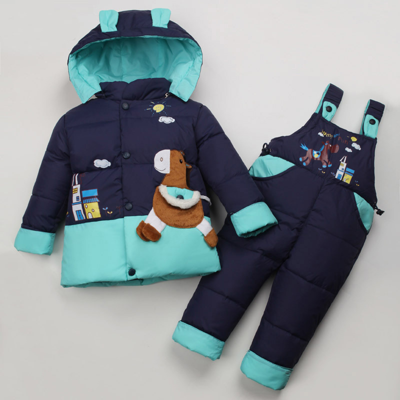 Hight quality Winter Child Down Coat Set 2015 Baby Boys And Girls Thick Down Jackets Suspenders