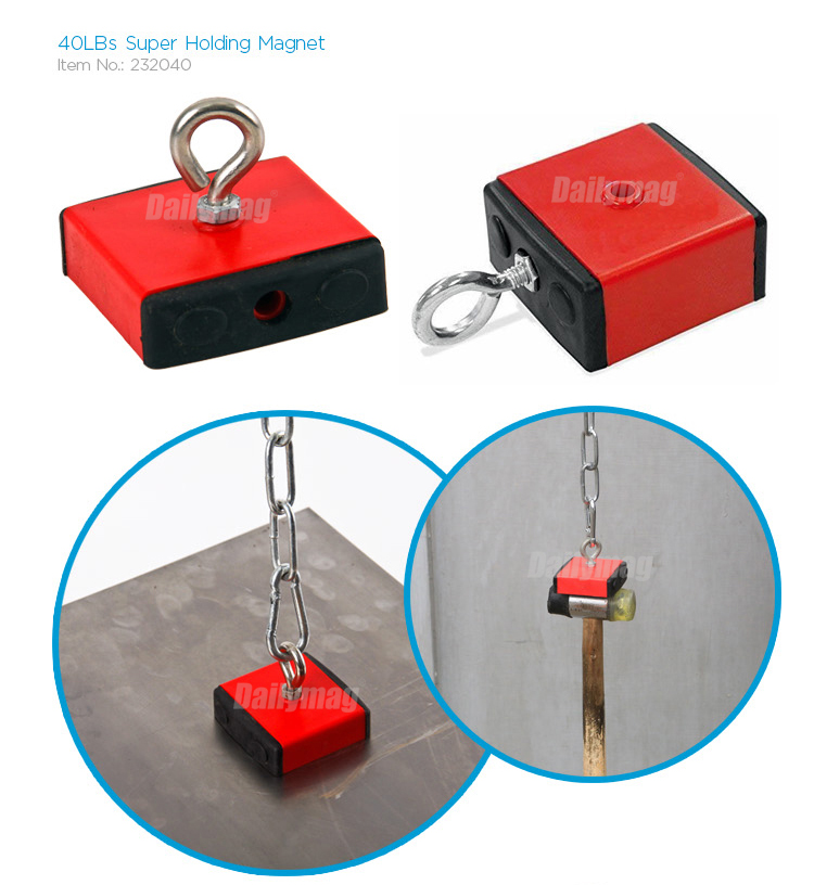 Dailymag Heavy Duty 100LBS Red Holding and Retrieving Magnet With Eyebolt