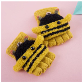 Knited Cute Bee Half Finger Winter Gloves With Clamshell Cover For