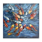 Lrage Handmade contemporary Art Colorful Abstract Japanese Koi Fish Oil Painting