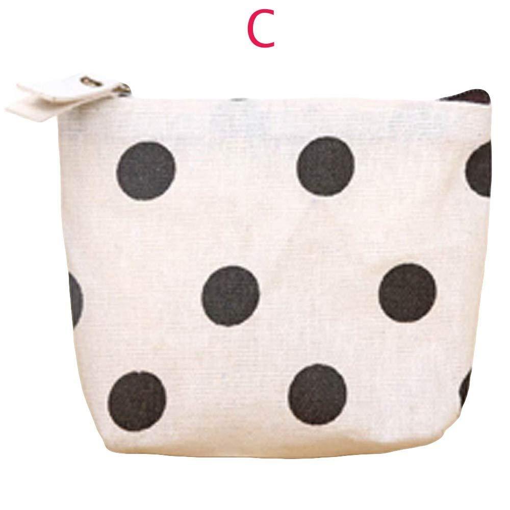 Women Girls Printing Flower Snacks Coin Purse,Outsta Wallet Bag Change Pouch Key Holder (C)