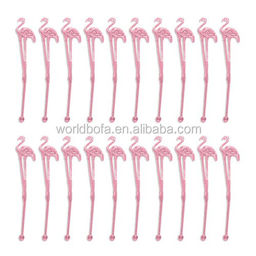 Plastic Pink Tropical Flamingo Stir Swizzle Sticks for Cocktail