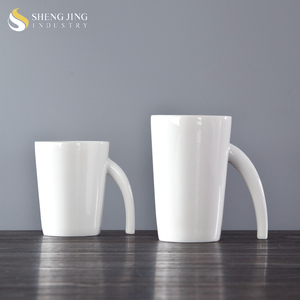 Custom Logo Coffee Tea Water 250ml Ceramic Cups White Porcelain 12oz Mug  For Cafe