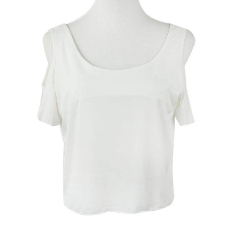 7b26d14ef579c Get Quotations · New brand 2015 Fashion Womens White Sexy Off Shoulder T  Shirt Zipper Back Tops Tees S M L
