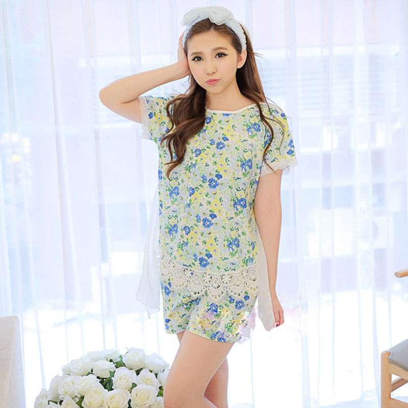 976d73d2f2 Get Quotations · Women Stain Nightgown Plus Size pajamas print sleepwear  nightdress indoor home clothing Cotton Cute Short-