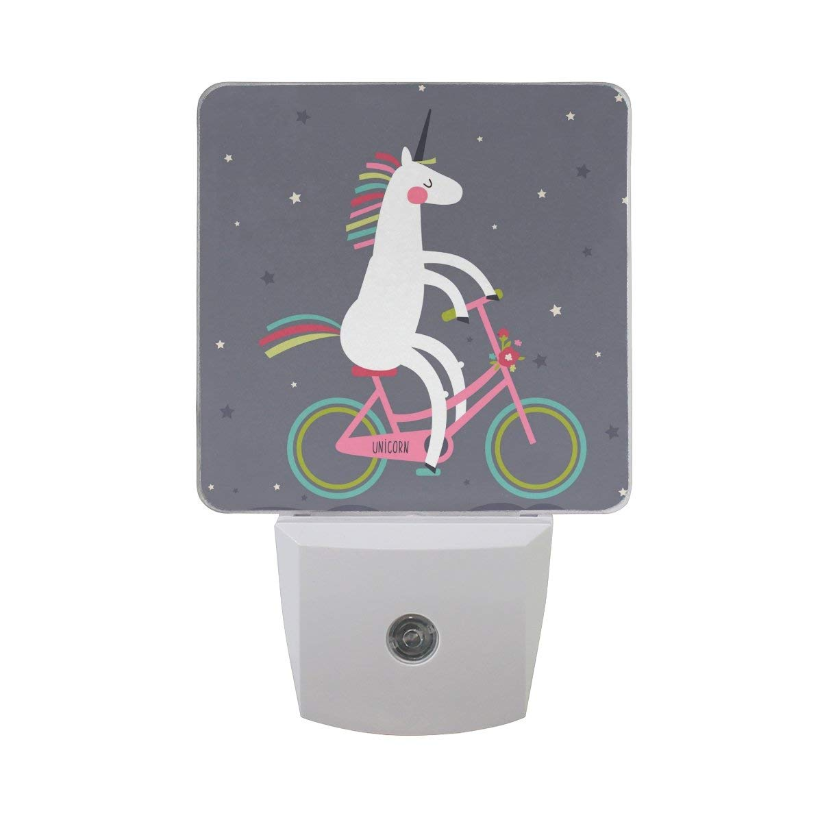 Naanle Set of 2 Cute Unicorn Colorful Bicycle Stars Auto Sensor LED Dusk to Dawn Night Light Plug in Indoor for Adults