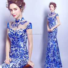 Hot Sale Factory Custom Made Long Turkish Blue Mermaid Evening Dresses Blue Hip Package Slim Evening Dress