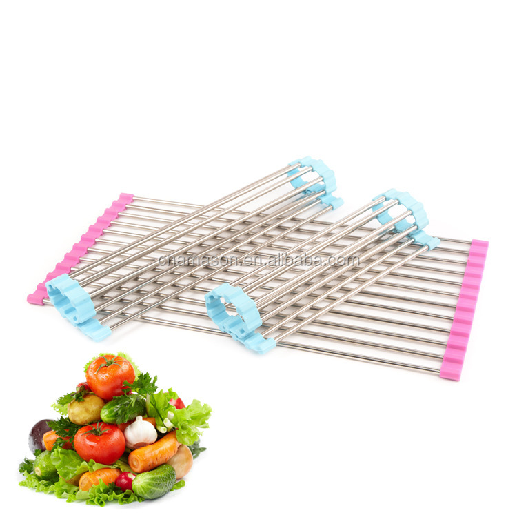 Over the Sink Roll-up Dish Drying Rack/ Mat Folding Over Strainer Roll Up Dish Drying Rack Stainless Steel Colander