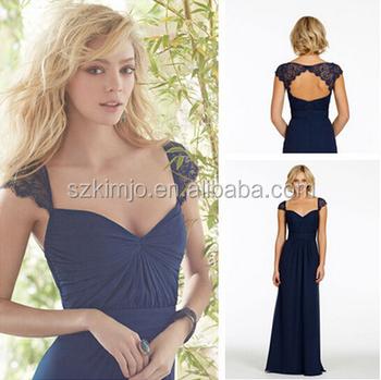 d521f25a9 Azul Marino vestidos de dama de honor boda fiesta barato de encaje de dama  de honor