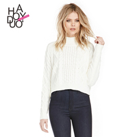 HAODUOYI Women Black White Deep V neck Knitted Pullovers Sweaters