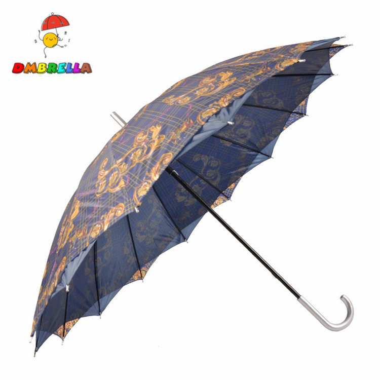 China Product 16 Ribs Promotional Double Layer Straight Umbrella