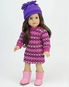 18 Inch Doll Clothes Outfit, 3 Pc. Pink Fair Isle Doll Dress, Purple Hat and Pink Boots Perfect for 18 Inch American Girl Dolls & More! Pink Fair Isle Dress w/Purple Hat and Boots