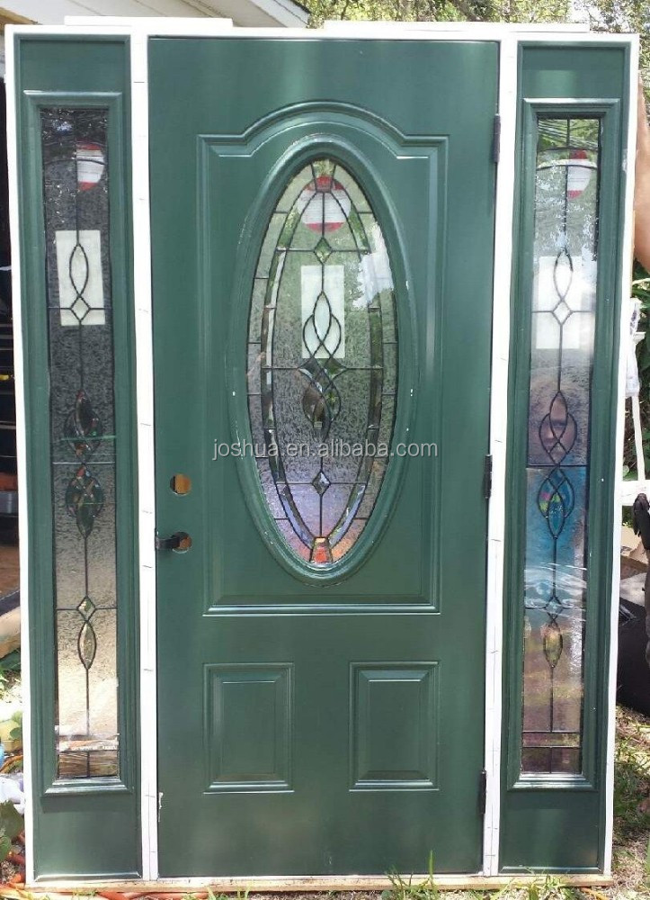 Leaded Glass Front Exterior Entry Door With Sidelites Buy Oval