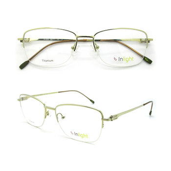 b7213b3a5a4 IN-003 Stock Frame Light Air Titanium Women Glasses Half Rim Executive  Titanium Eyeglass Optical. View larger image