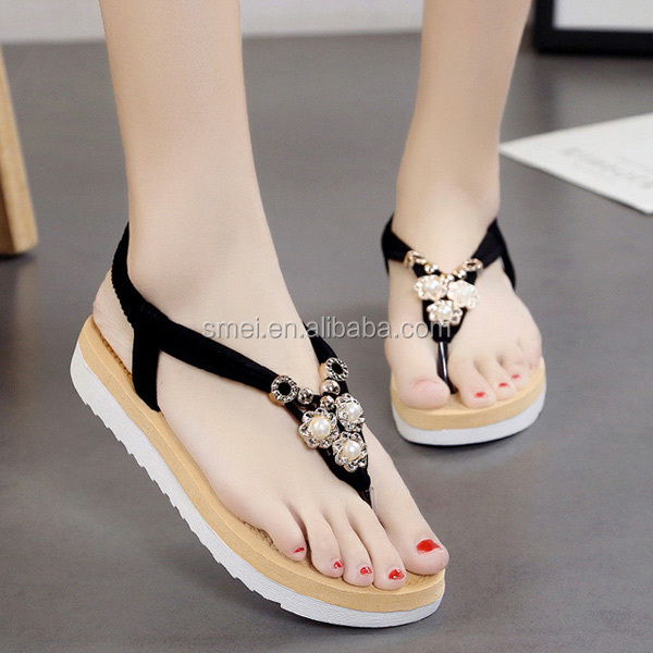 Fashion Faux Pearls Flat Heel Elastic Sandals
