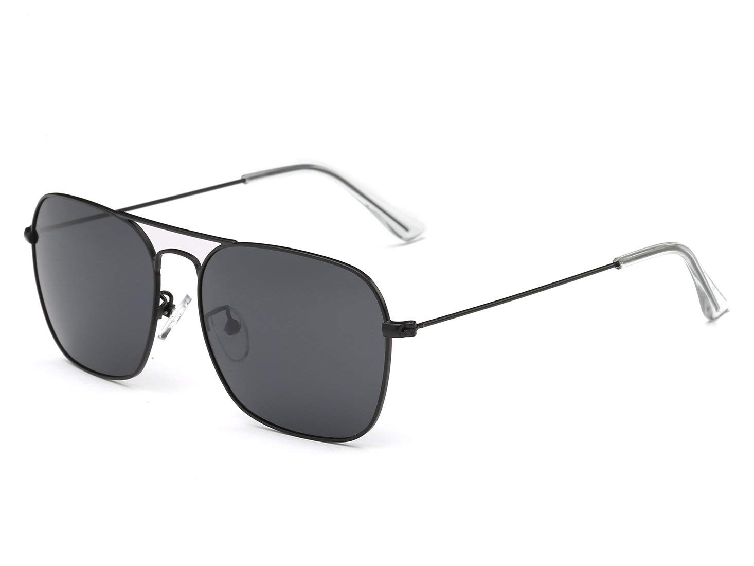 3baf226d7974d Get Quotations · FSK Polarized Square Aviator Sunglasses for Men 56mm  (black