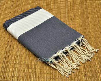 a01a5f6c366 turkse pestemal lina Fouta handdoek 100% katoen bi- triped Fouta wafel  weven marine blauw