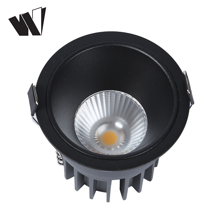 Black modern anti-glare smart cob 12w living room recessed led spot light fixture