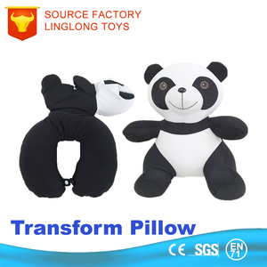 EPS Beads Throw Pillow Cover Foam Particle Car Back Cushion 2 In 1 Convertible Lycra Panda U Shape Transform Pillow